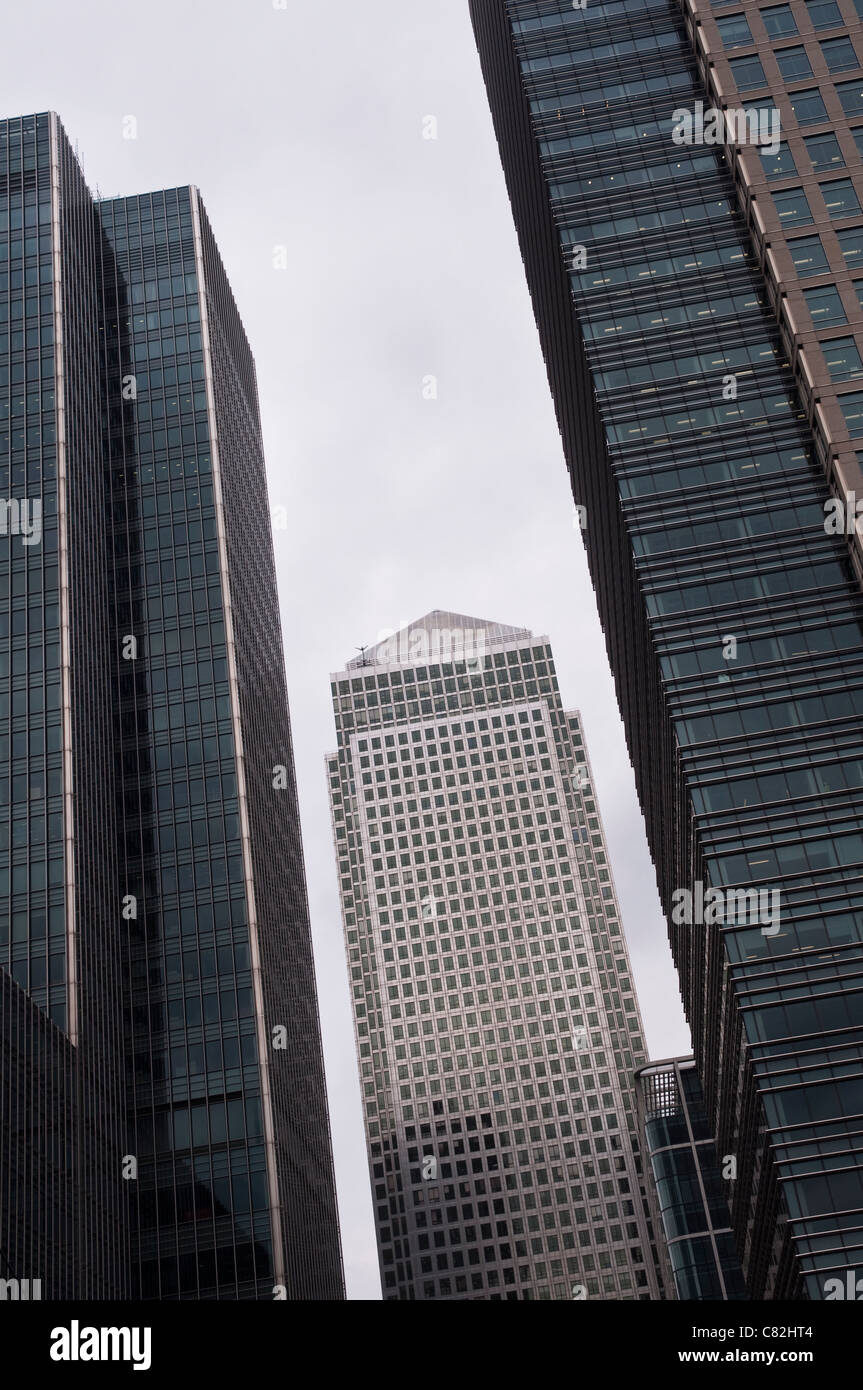 A view of One Canada Square, looking through a gap between Canary Wharf skyscrapers in London, UK. - Stock Image