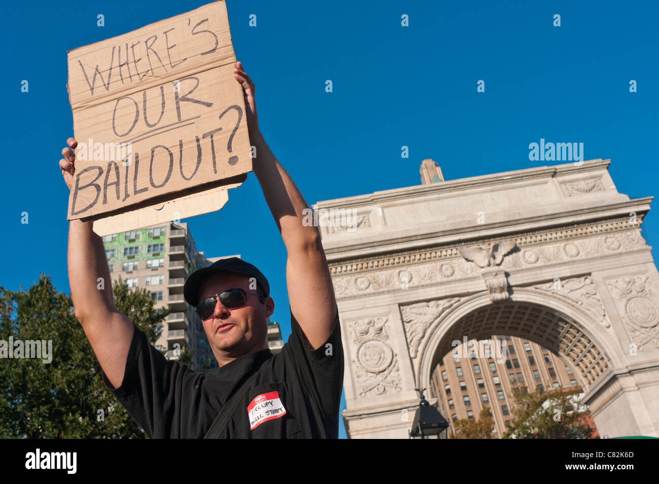 OccupyWallStreet takes their General Assembly to Washington Square Park - Stock Image