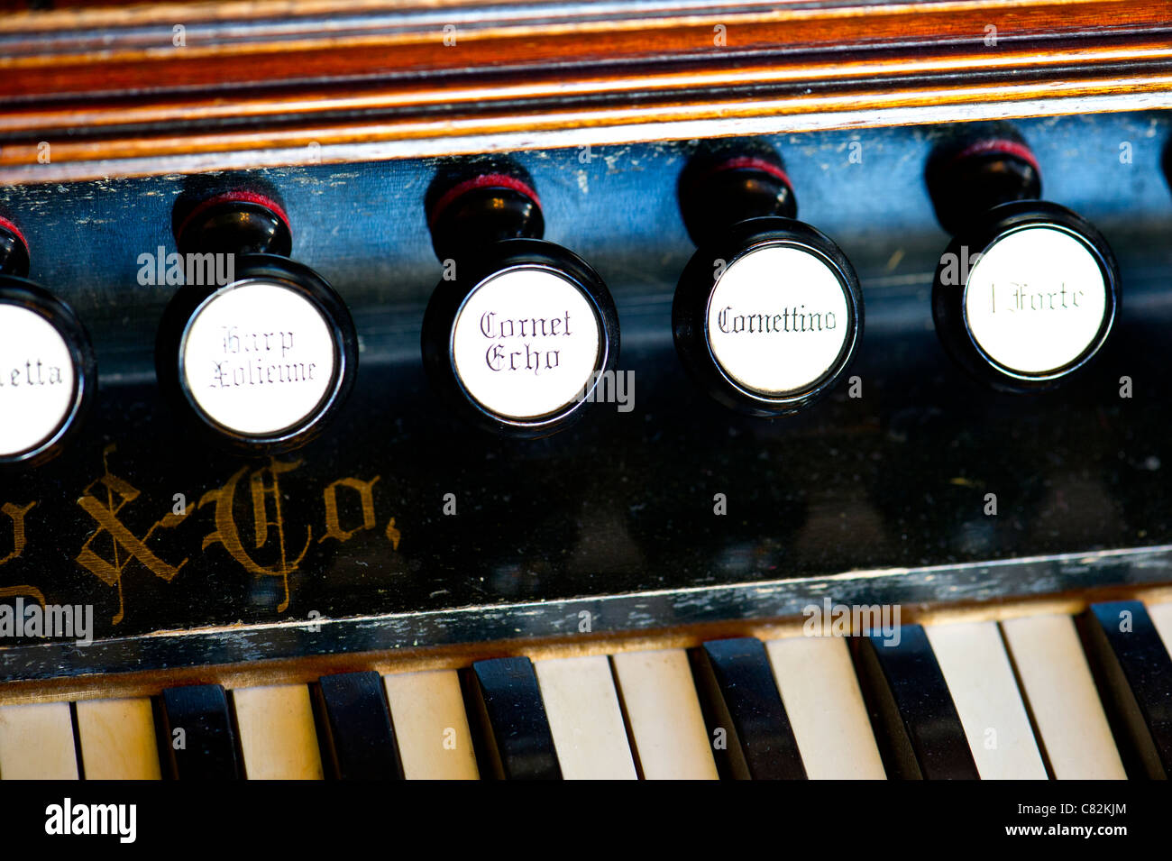 Pull stops on reed organ - Stock Image