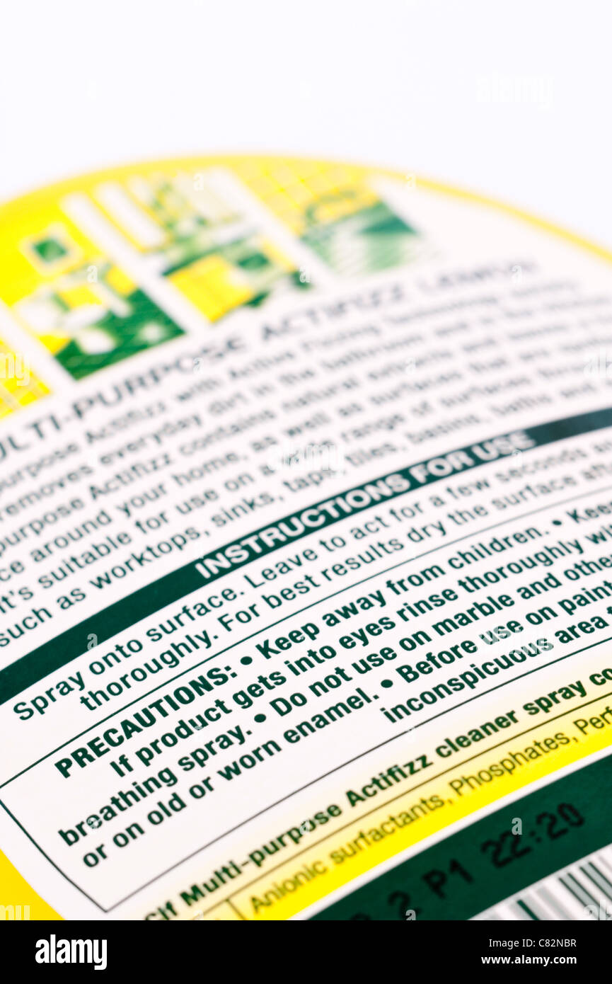 Warning sign on a household cleaning product bottle - Stock Image