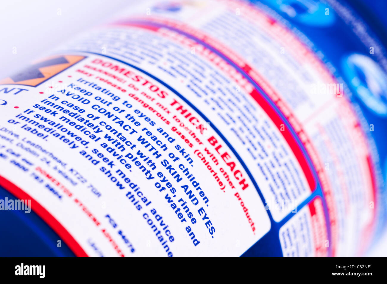 Warning sign on a household bleach product bottle - Stock Image