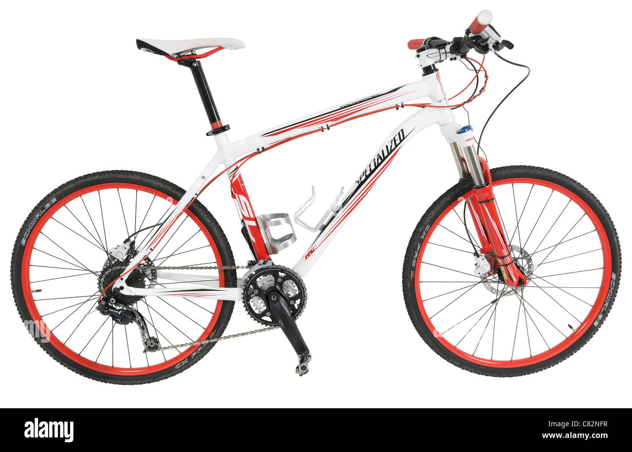 Hardtail mountain bike on white background - Stock Image