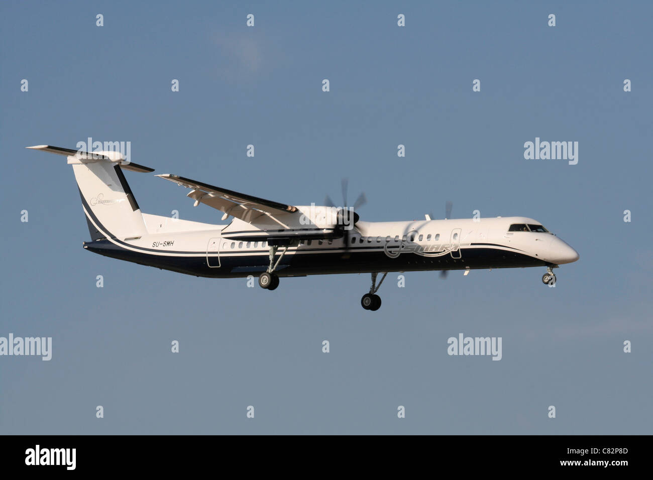 Bombardier Dash 8-Q400 regional airliner operated by Smart Aviation of Egypt - Stock Image