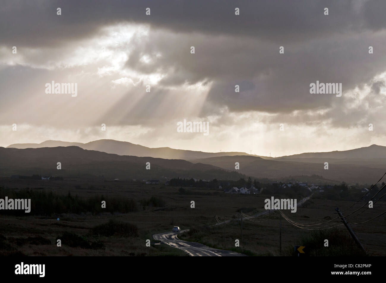 N56 road leading into the glen of Glenties during a storm - Stock Image