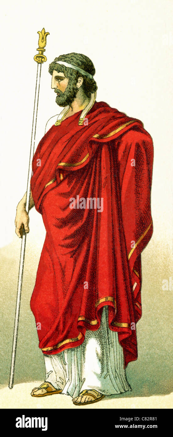 This 1882 illustration shows an ruler of an ancient Greek city-state in the fifth and fourth century B.C. - Stock Image