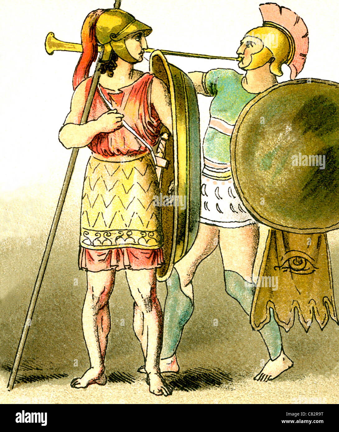 These illustrations of ancient Greeks represent, from left to right: a warrior and a trumpeter. The illustrations - Stock Image