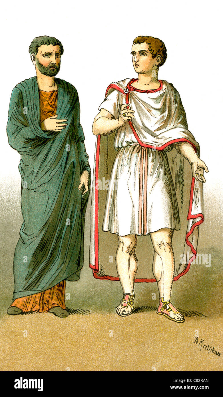 The figures represent ancient Roman males, from left to right: a citizen of the empire, an equestrian (knight). - Stock Image