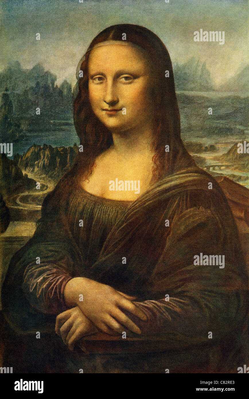 The work titled Mona Lisa was painted between 1503 and 1505 by the renowned Italian artist Leonardo da Vinci. - Stock Image