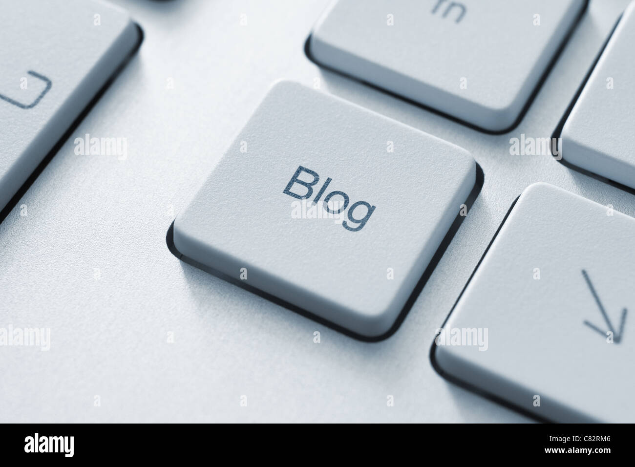 Blog button on the keyboard. Toned Image. - Stock Image