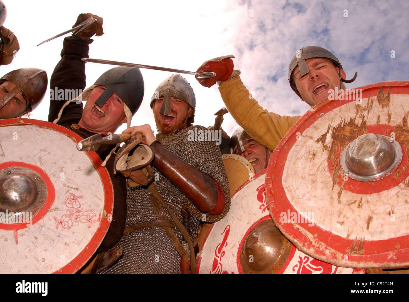 Viking Attack Viking festival Amlwch Anglesey North Wales Uk. - Stock Image