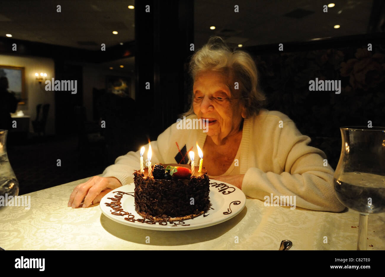 An Elderly Woman With A Cake In Celebration Of Her 95th Birthday Oct 8