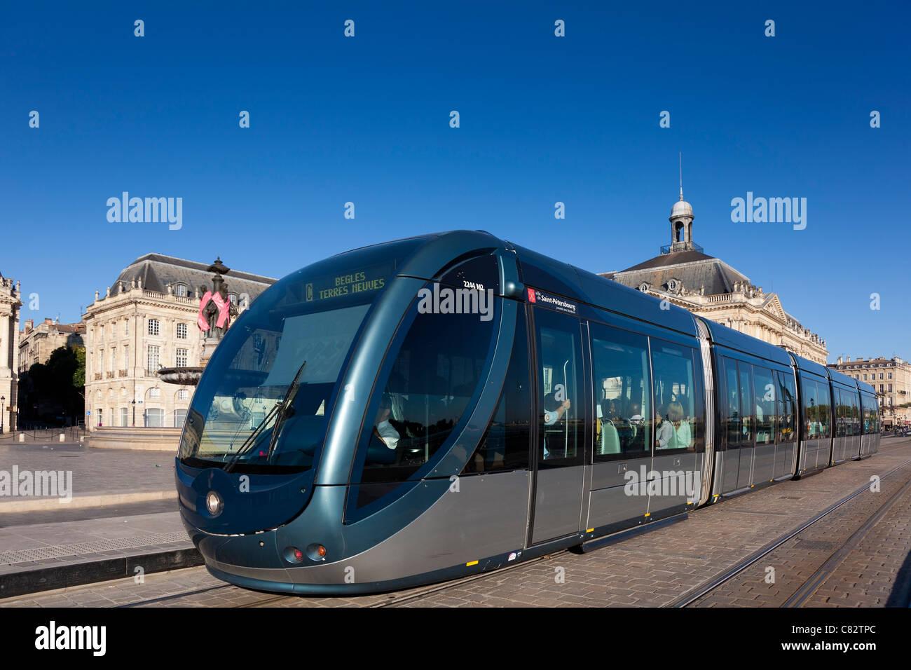 Streetcar of Bordeaux, Aquitaine, France - Stock Image