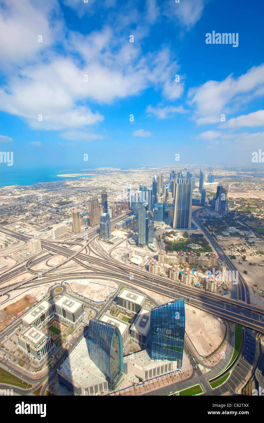 View over skyscrapers and roads in Dubai city Stock Photo