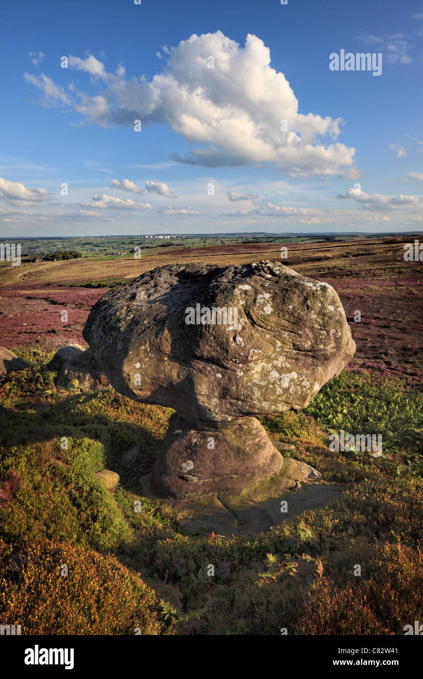 Mushroom shaped rocking stone in a disused quarry on High Crag Ridge near Glasshouses and  Pateley Bridge in Yorkshire - Stock Image