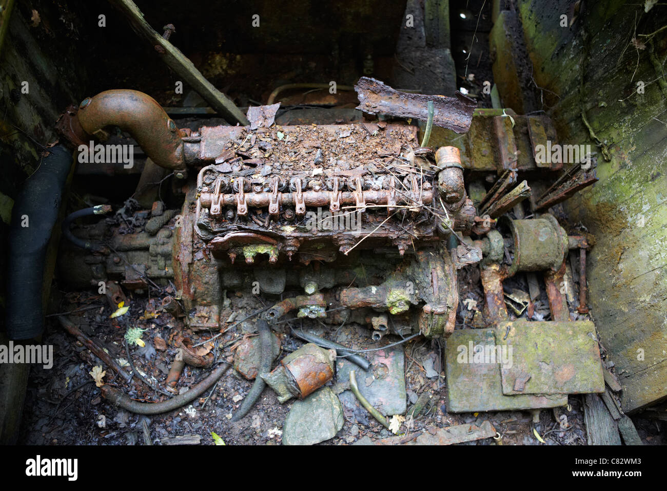 Rusted boat engine - Stock Image