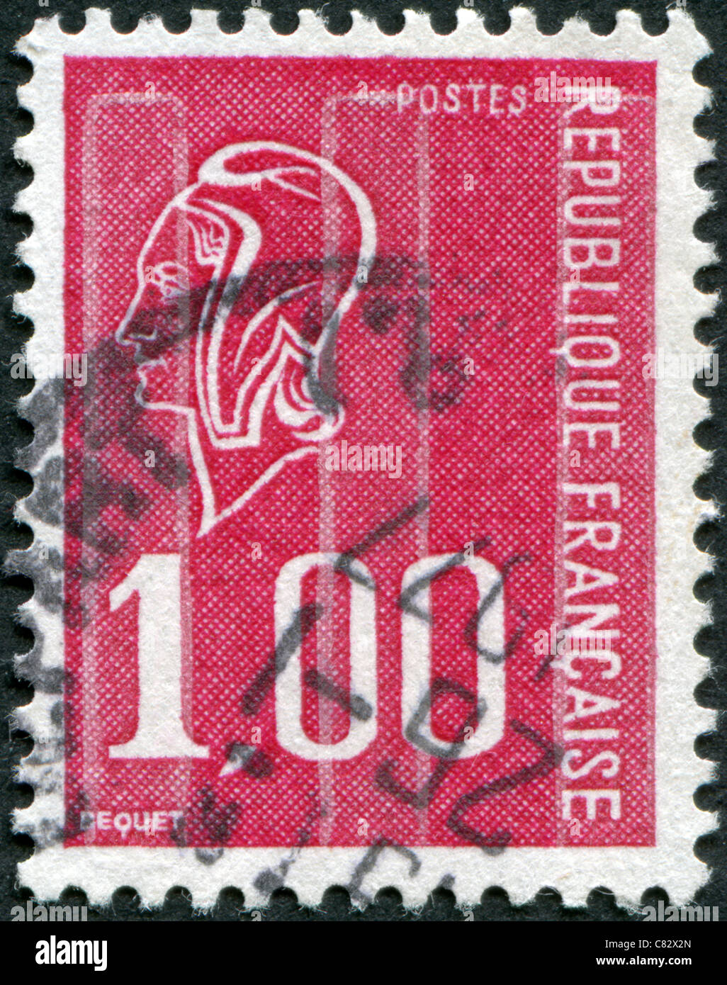 FRANCE - 1976: A stamp printed in France, depicts Marianne (by Bequet) is a national emblem of France - Stock Image