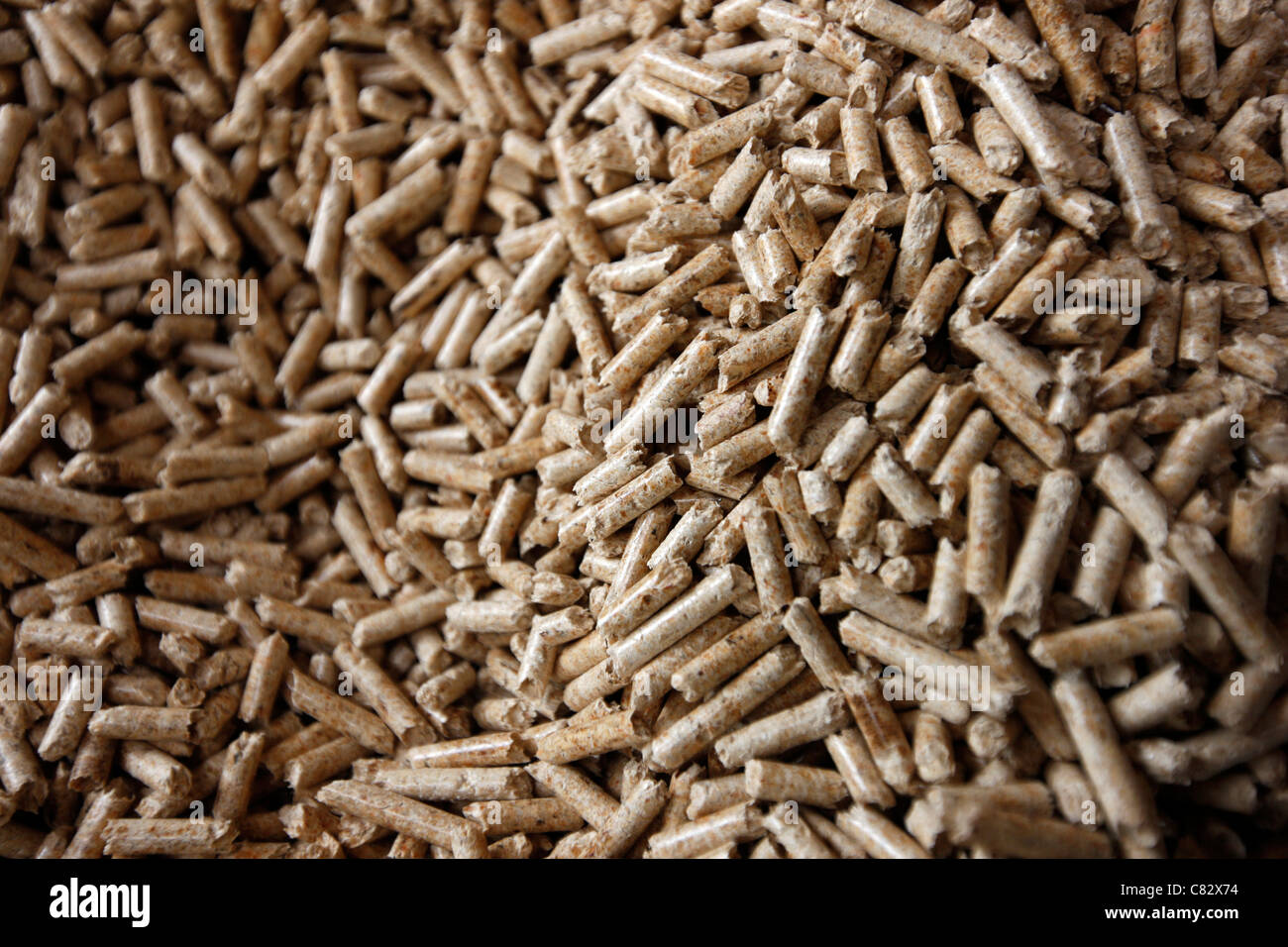 Production of wood pellets. A type of wood fuel. Sawdust is manufactured to pellets. Used in boilers of central - Stock Image