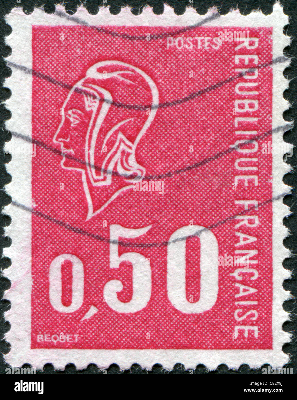 FRANCE - 1971: A stamp printed in France, depicts Marianne (by Bequet) is a national emblem of France - Stock Image