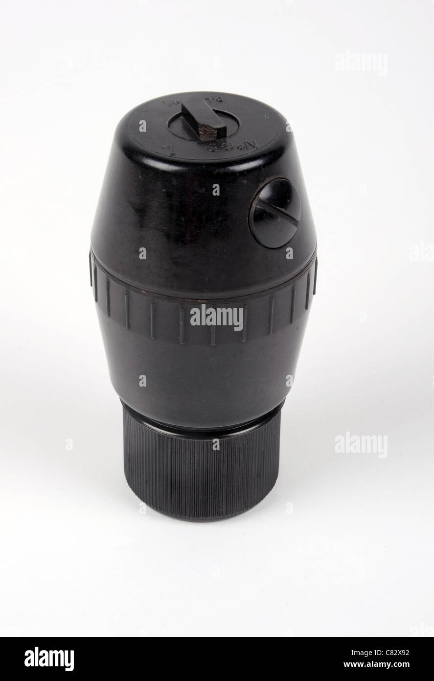 Unusual WWII British No69 bakelite fragmentation offensive hand grenade. - Stock Image