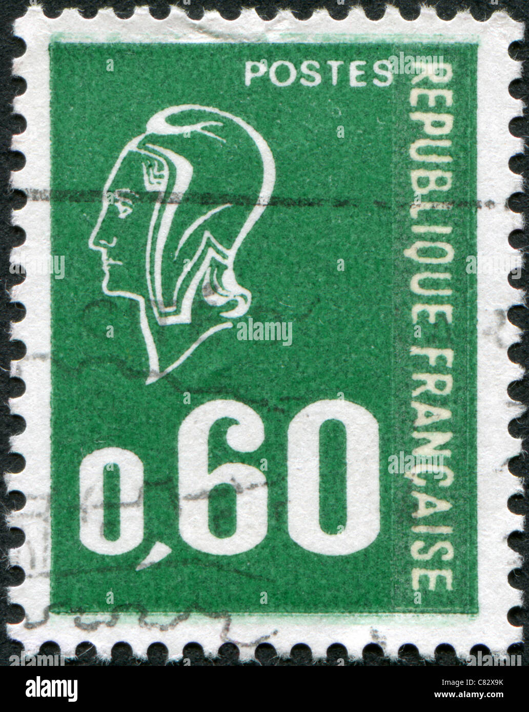 FRANCE - 1974: A stamp printed in France, depicts Marianne (by Bequet) is a national emblem of France - Stock Image