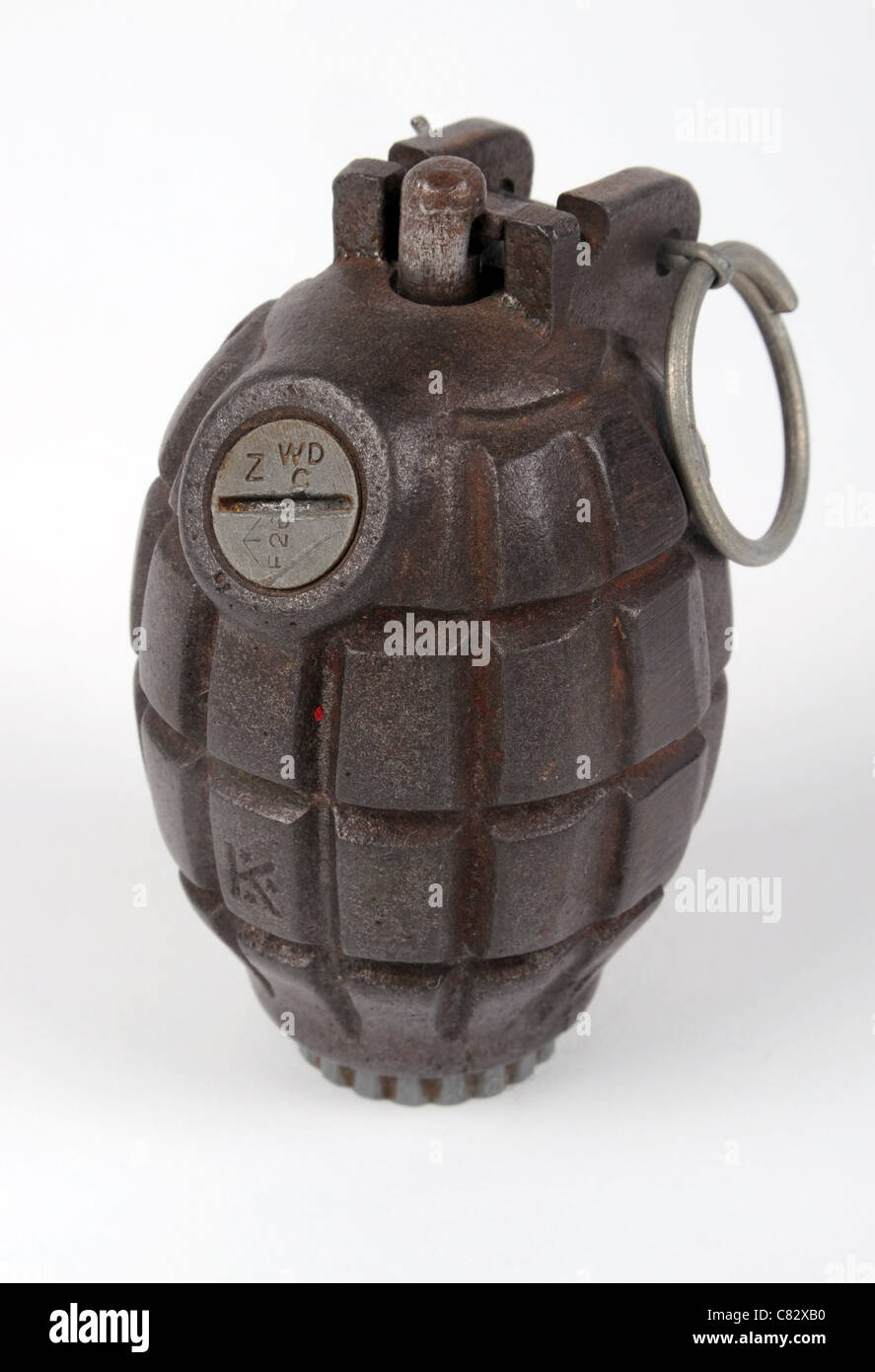 WWII British No36 Mills fragmentation defensive hand grenade. Stock Photo