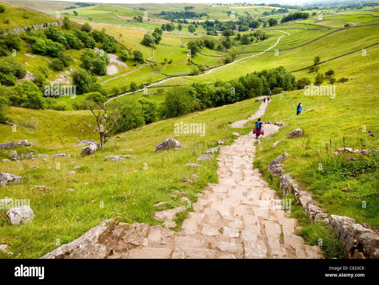 Walkers making their way down the path leading up to the limestone pavement above Malham Cove in the Yorkshire Dales, - Stock Image