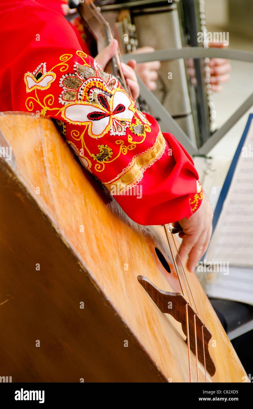Ukraine, Yalta, Livadia Palace. Ukrainian folkloric show with traditional costumes. Man playing large three-stringed - Stock Image