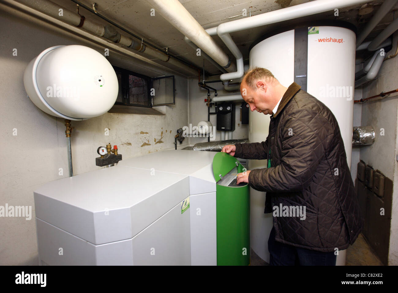 Wood Pellet Boiler >> Wood Pellet Boiler Of A Central Heating System In A Private Home