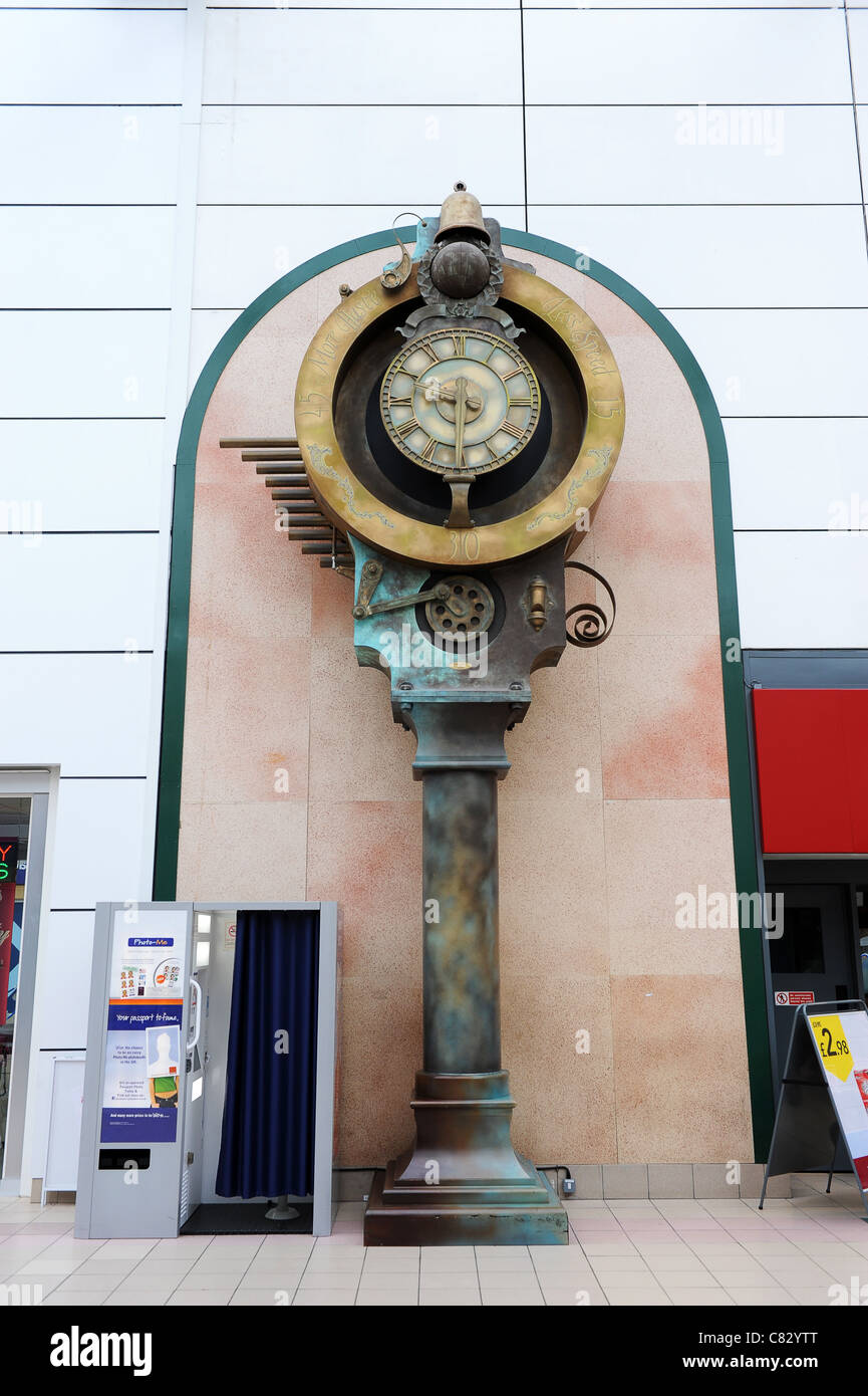 The Chiming Clock In The Clock Tower Shopping Centre At Rugby In Stock Photo Alamy