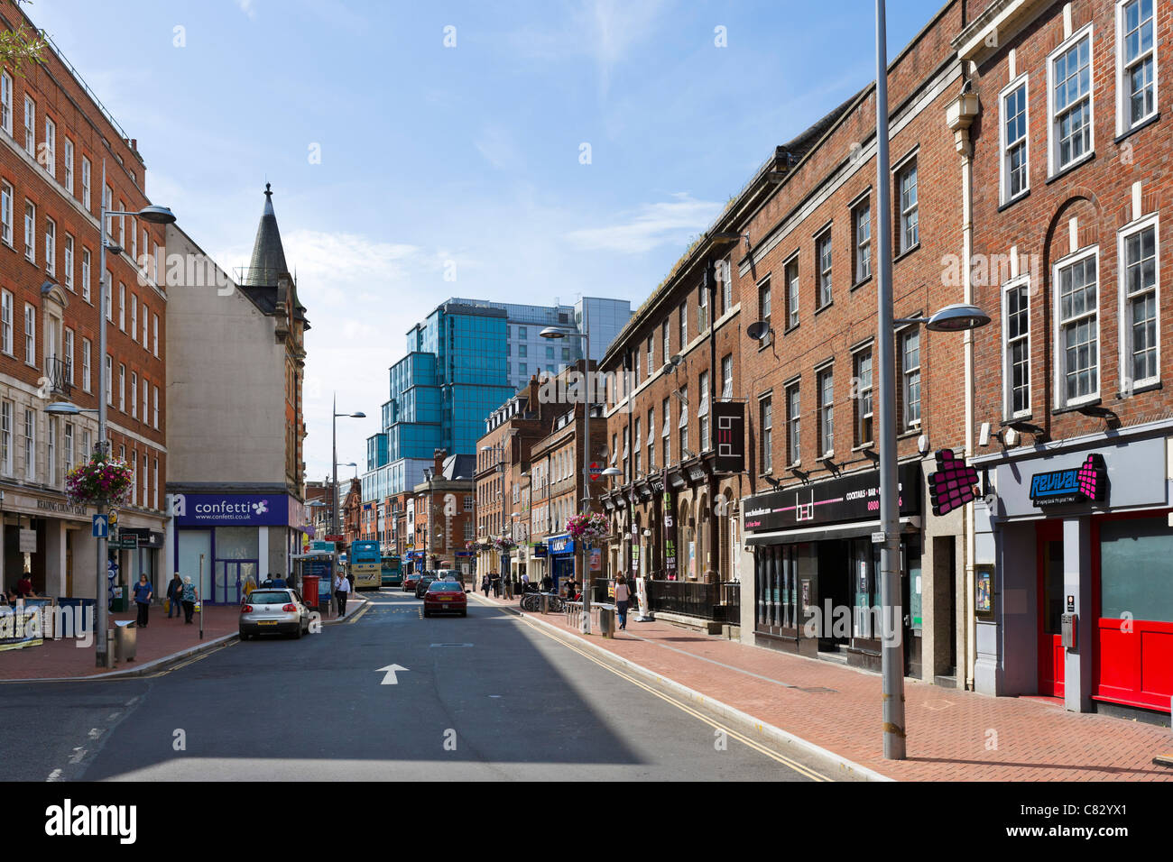 Shops on King Street in the city centre, Reading, Berkshire, England, UK - Stock Image