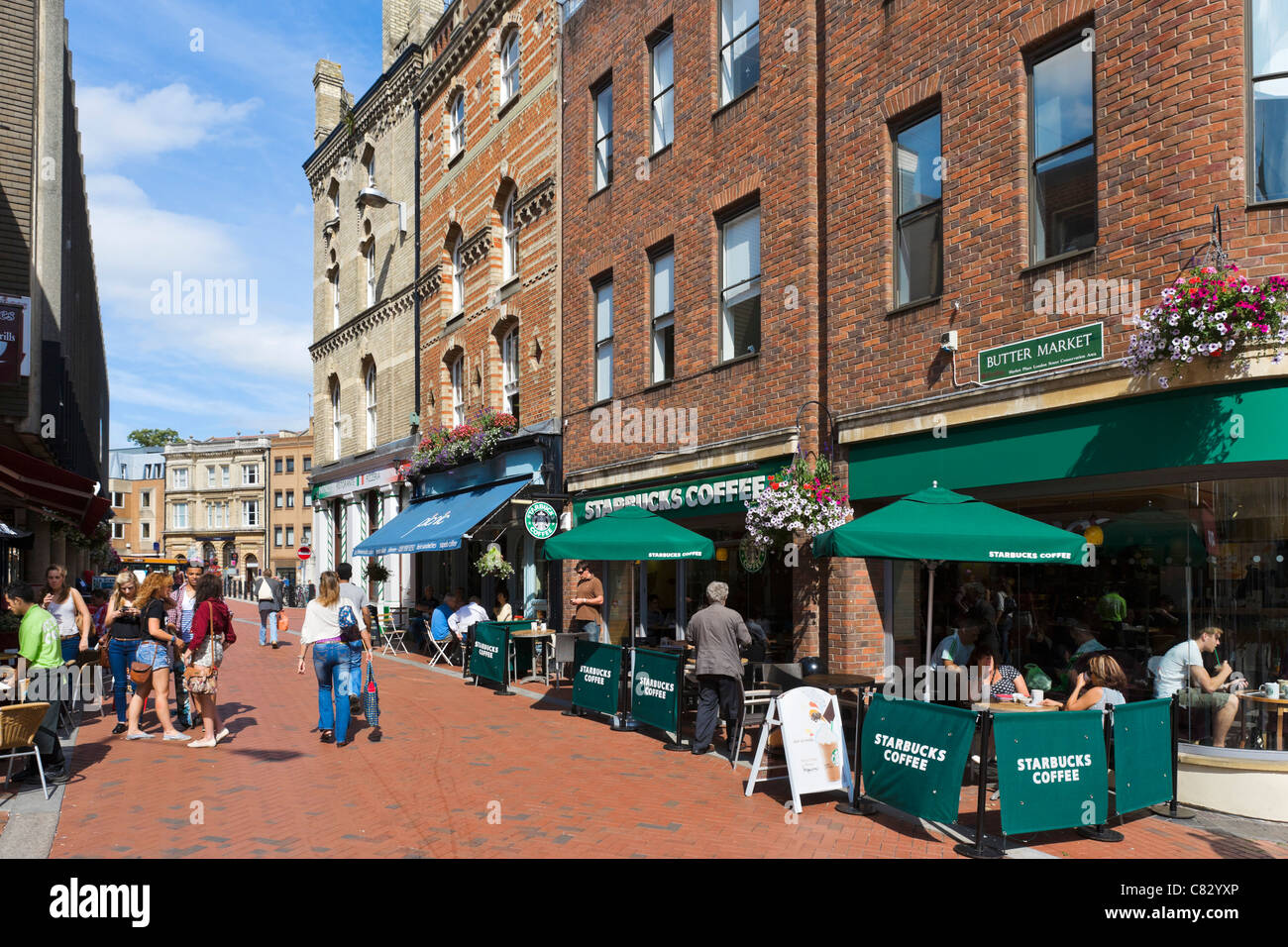Starbucks coffee shop on Butter Market in the city centre, Reading, Berkshire, England, UK - Stock Image