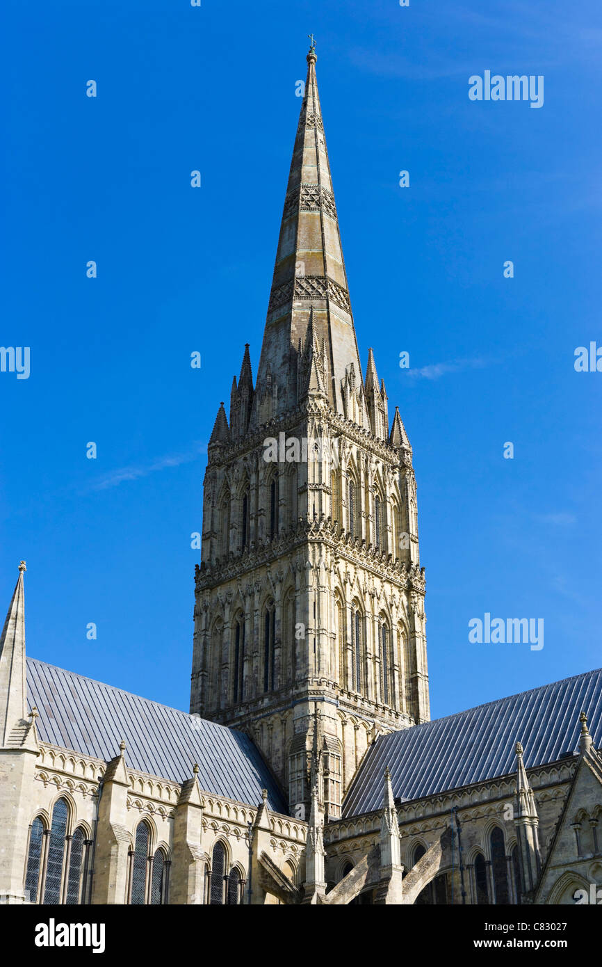 The spire of Salisbury Cathedral, The Close, Salisbury, Wiltshire, England, UK - Stock Image