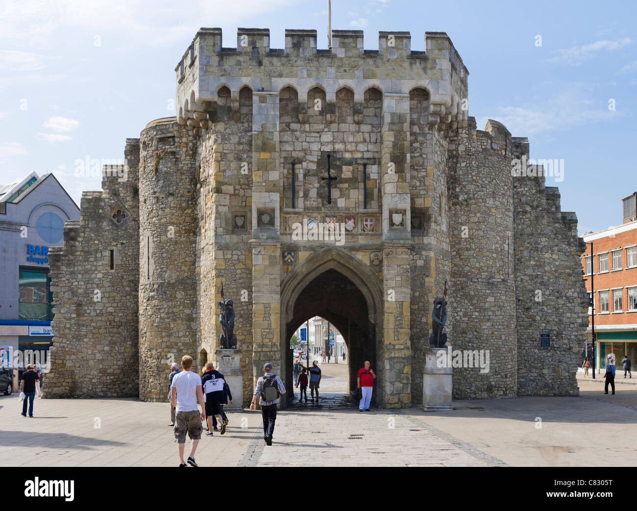 The Bargate medieval gateway in the city centre, Southampton, Hampshire, England, UK - Stock Image