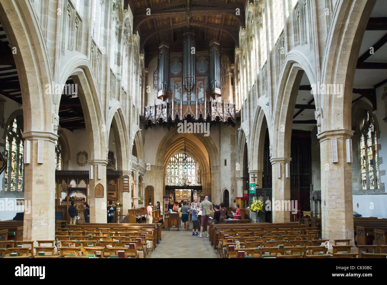 Interior of the Church of the Holy Trinity (where William Shakespeare is buried), Stratford-upon-Avon, Warwickshire, - Stock Image
