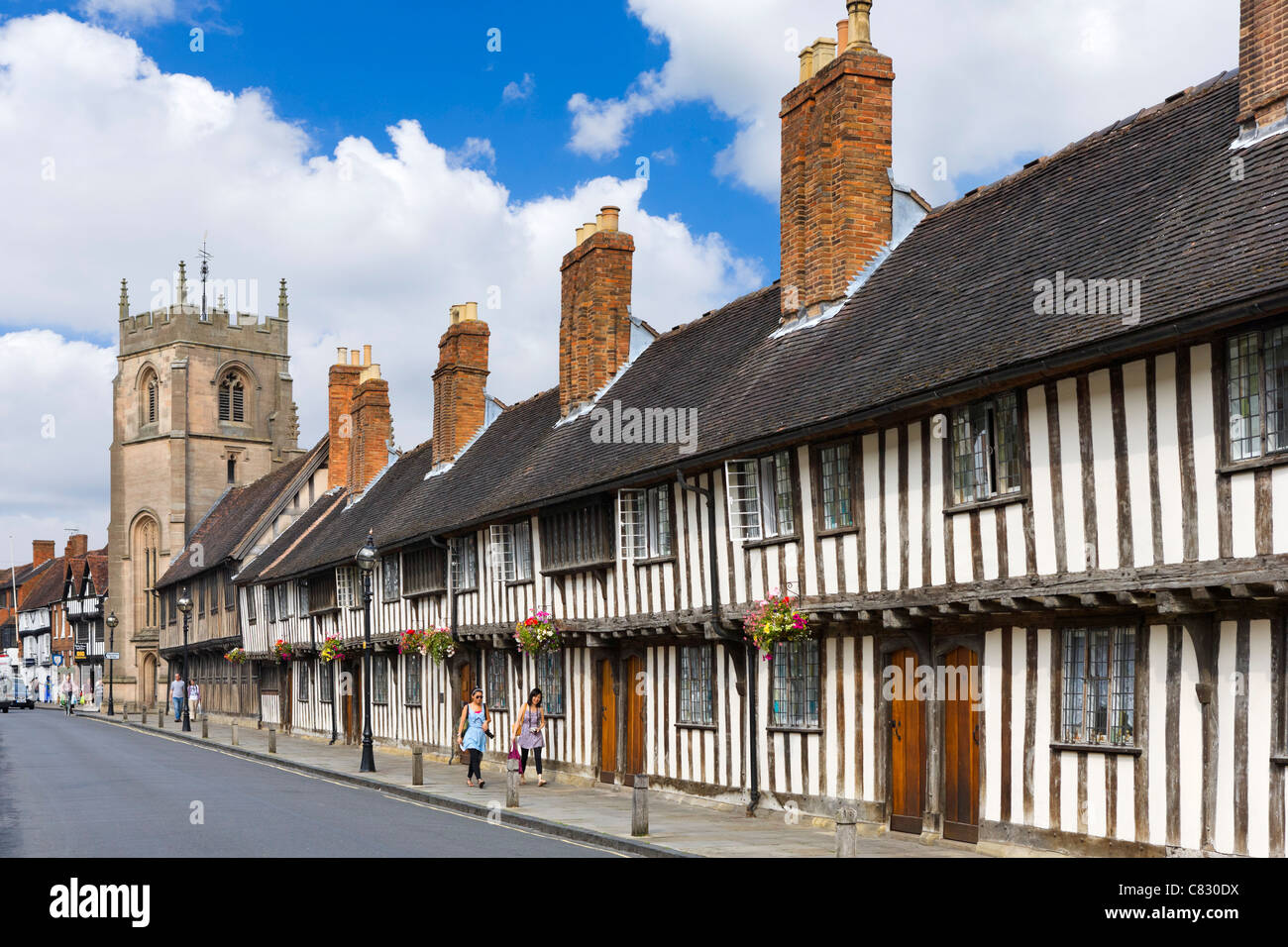Historic houses along Church Street in the old town, Stratford-upon-Avon, Warwickshire, England, UK Stock Photo
