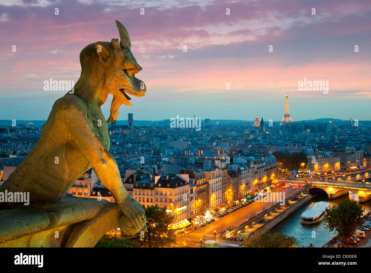 France, Paris, view over Paris from Notre Dame Cathedral Stock Photo