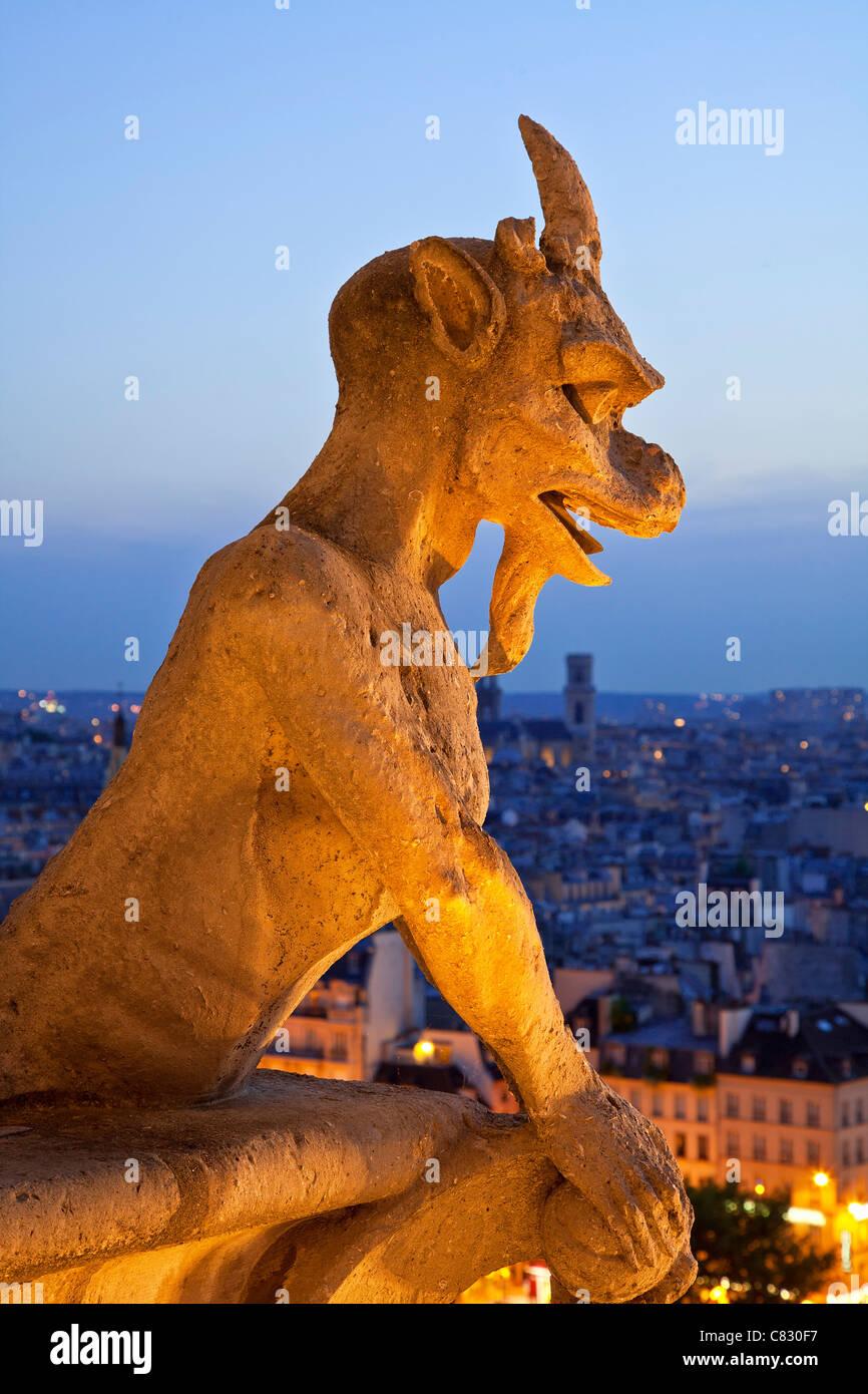France, Paris, Gargoyle of Notre dame Cathedral - Stock Image