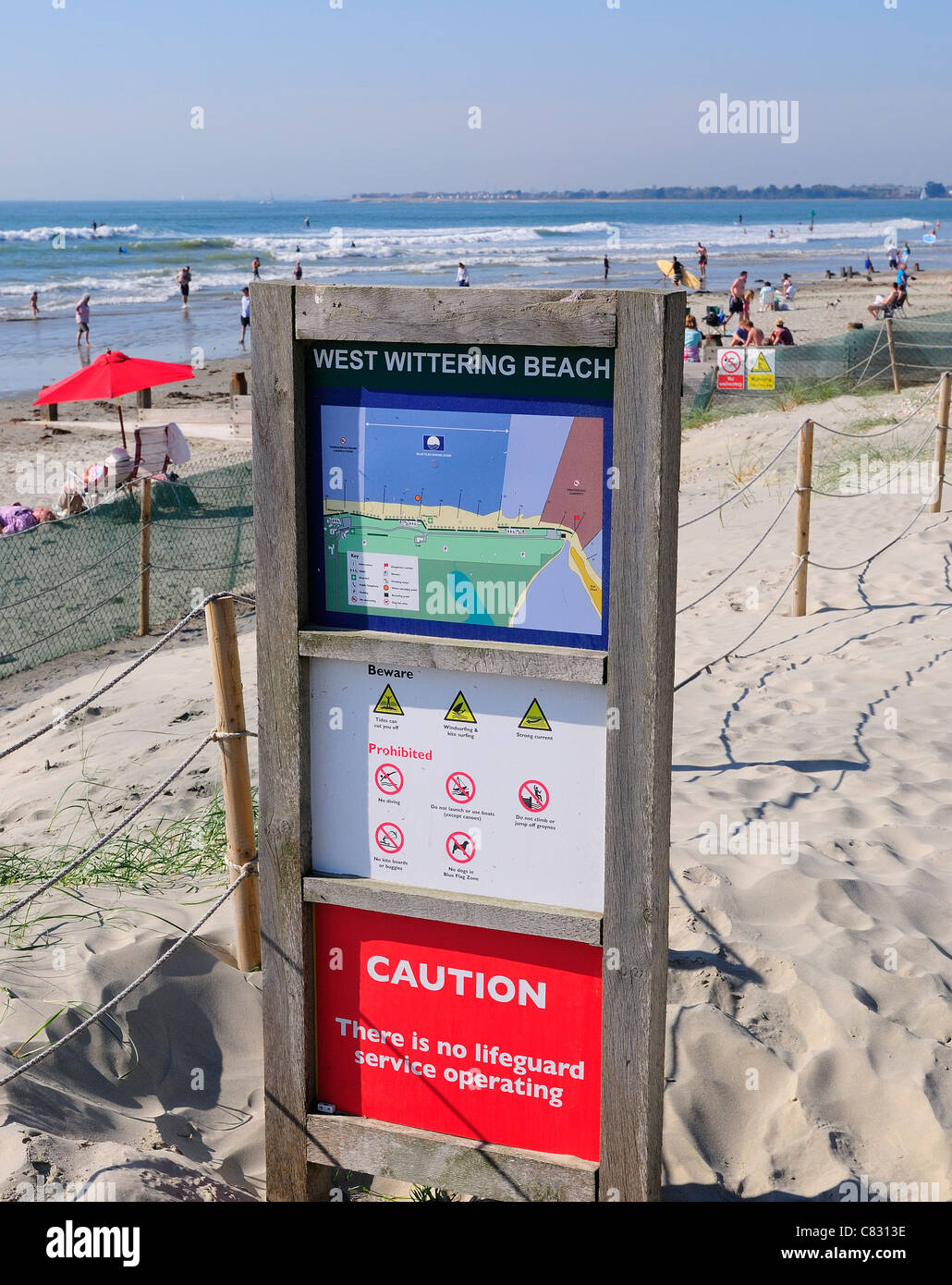 West Wittering Beach rules and regulation sign - Stock Image