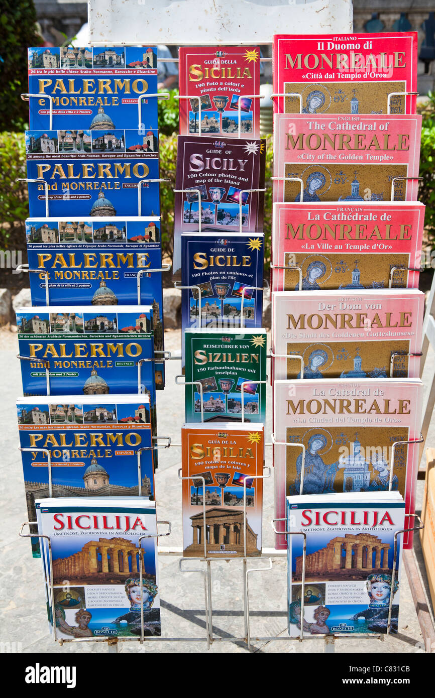 Palermo and Monreale guide books for sale, Palermo, Sicily, Italy - Stock Image