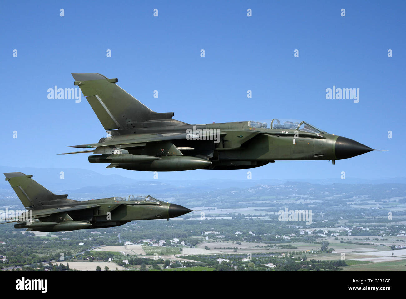 Two green fighter jets - Stock Image