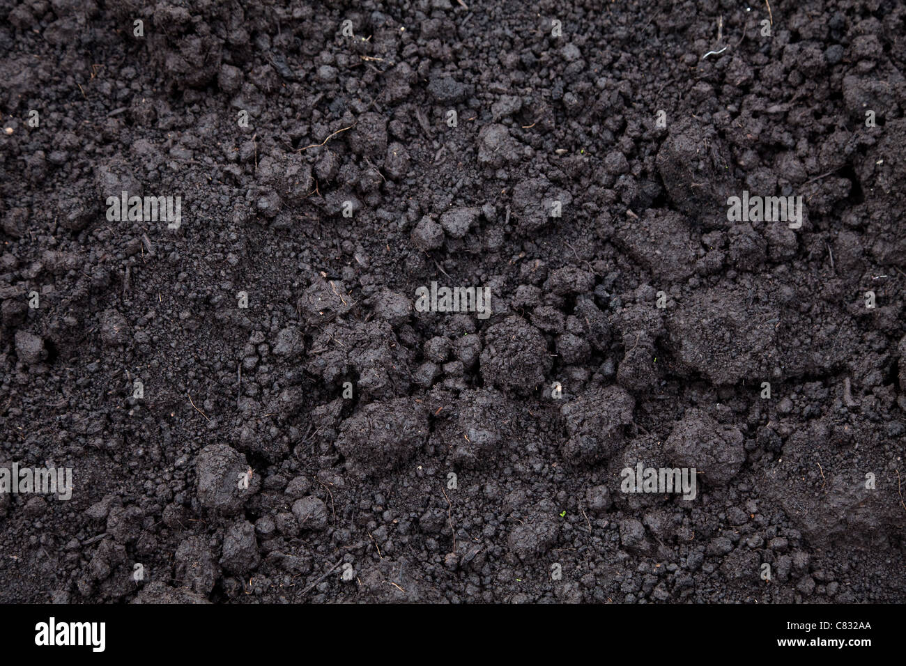 black soil for Textured Background - Stock Image