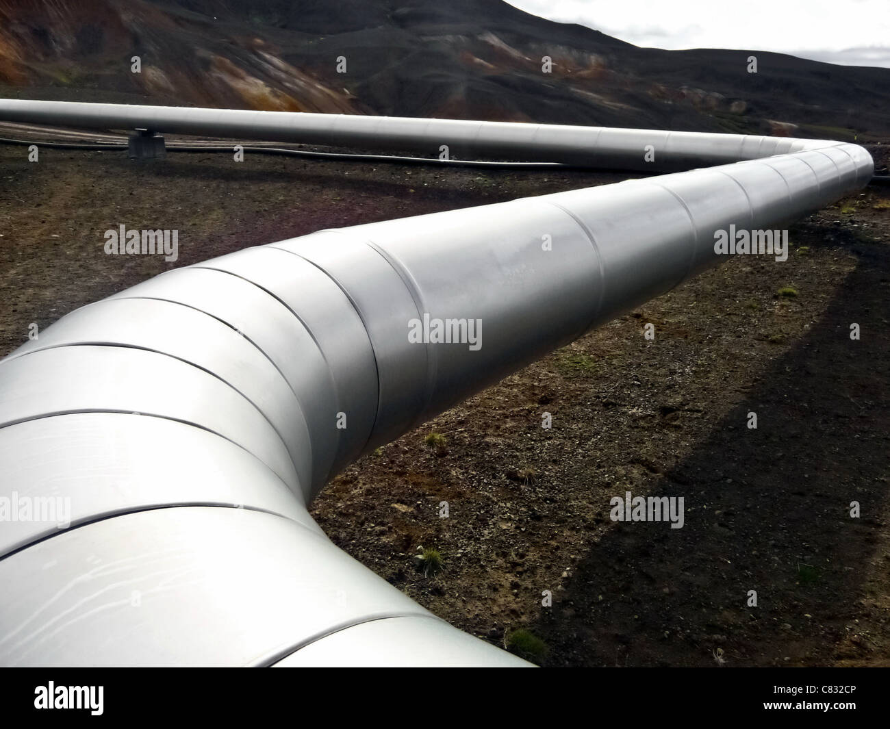 Oil and gas pipeline in in arctic desert - Stock Image