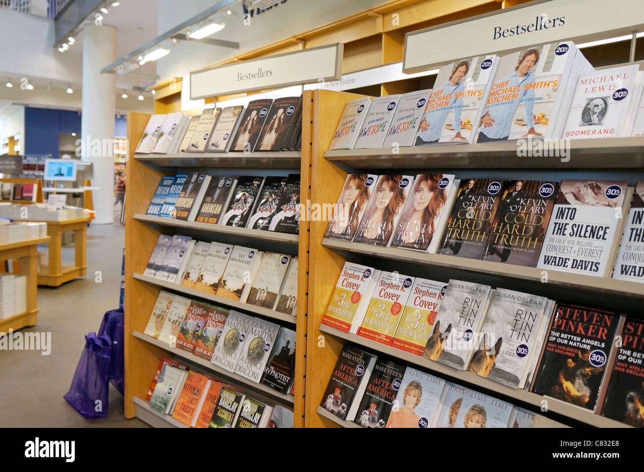 Books on Shelves in Bookstore, Bestsellers of Fall 2011, Michael Smith, Neil Pasricha, Kevin O'Leary - Stock Image