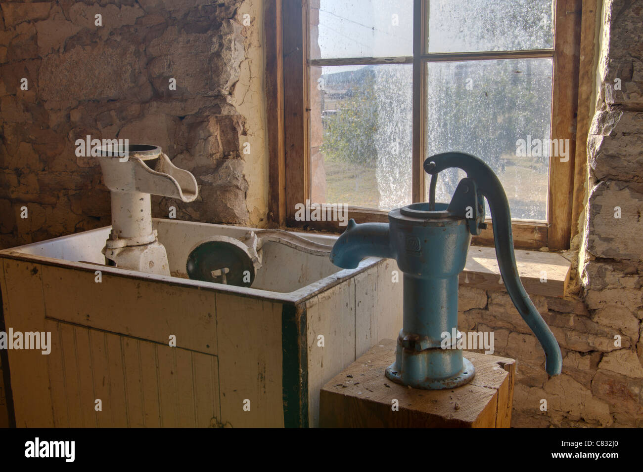 Old Fashioned Hand Pump And Wooden Sink In A Ranch In South Dakota
