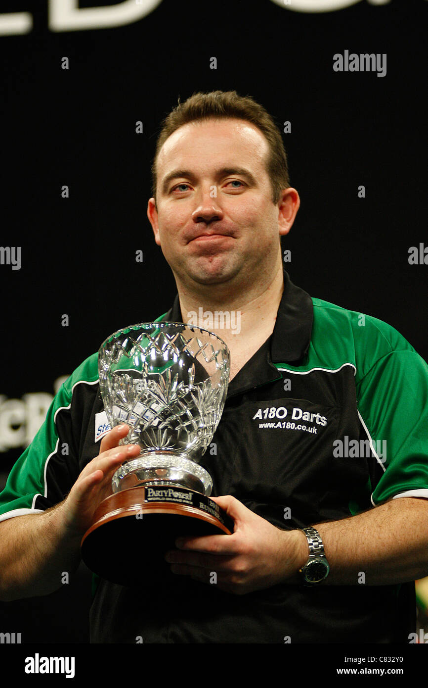 Brendan Dolan lost to Phil Taylor by 6 sets to 3 at the final of the PDC World Grand Prix Darts at the Citywest - Stock Image