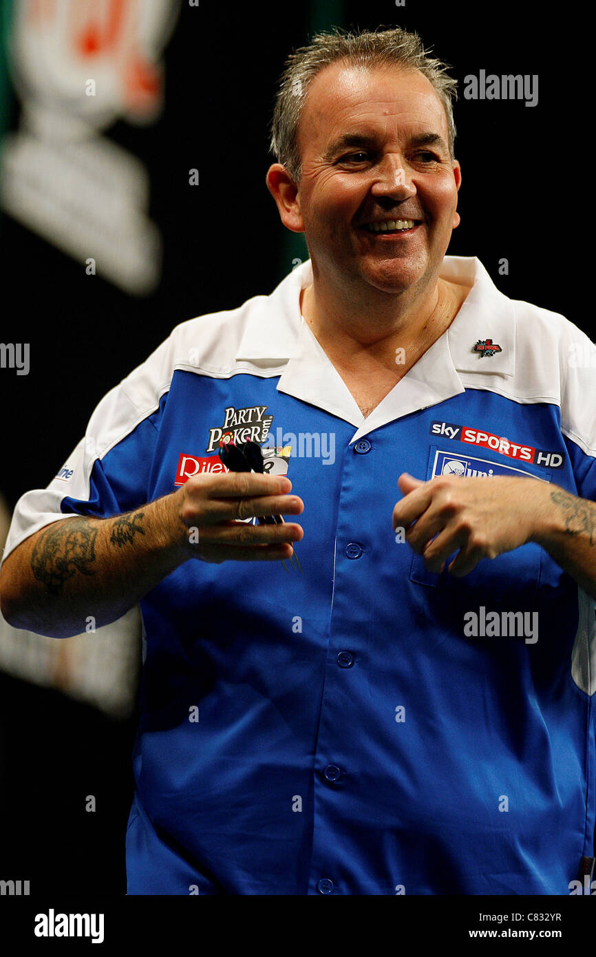 Dublin, Republic of Ireland. Phil Taylor in action against Brendan Dolan, during the final of the PDC World Grand - Stock Image