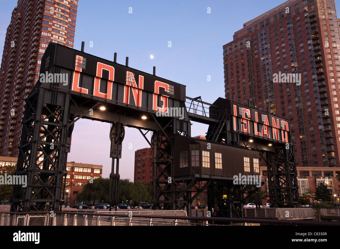 Industrial Gantry at Gantry Plaza State Park in Long Island CIty in the borough of Queens, NYC - Stock Image