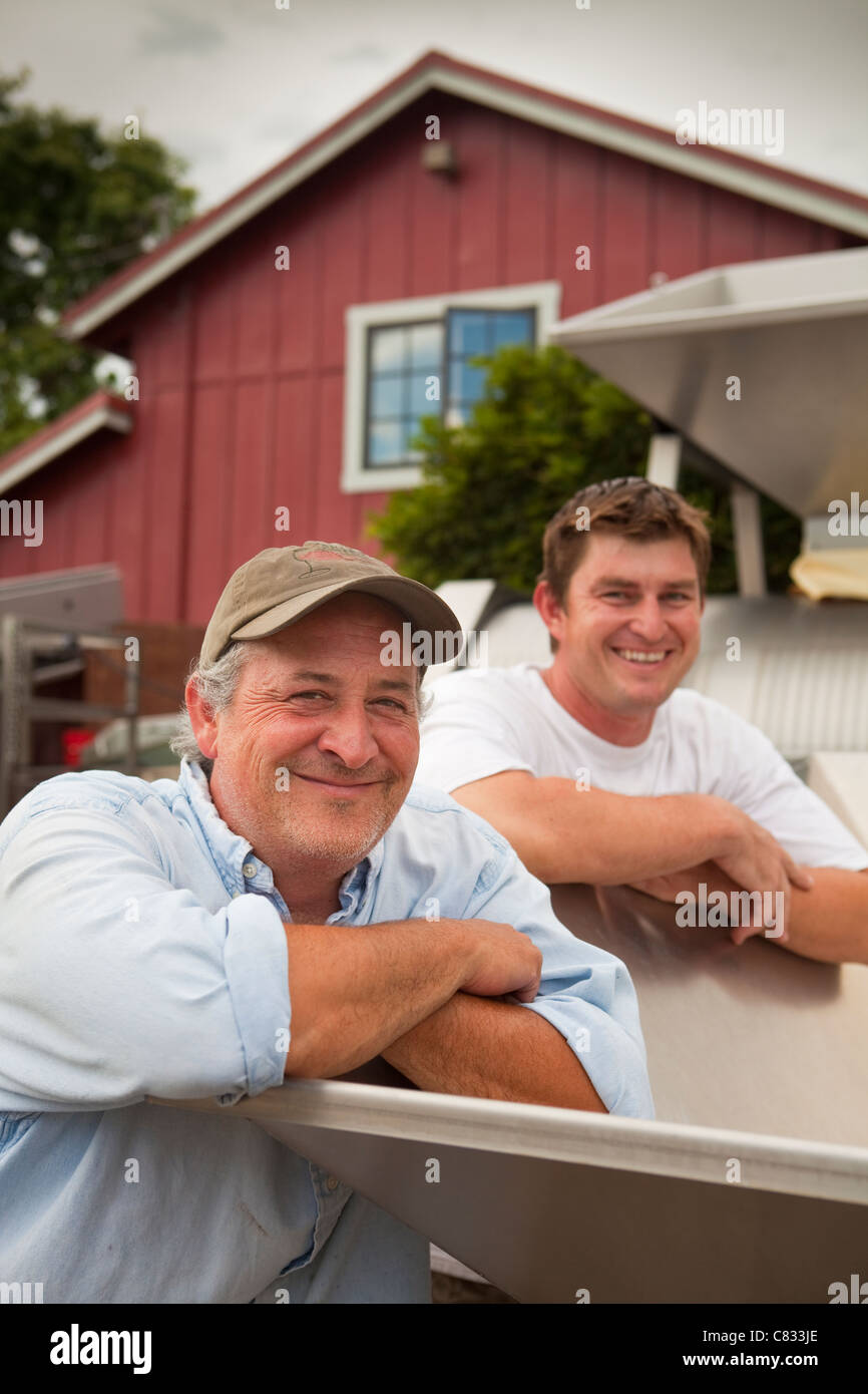 Steve Beckman and winemaker Mikael Sigouin, Beckman Vineyard, Santa Ynez Valley, California, United States of America - Stock Image