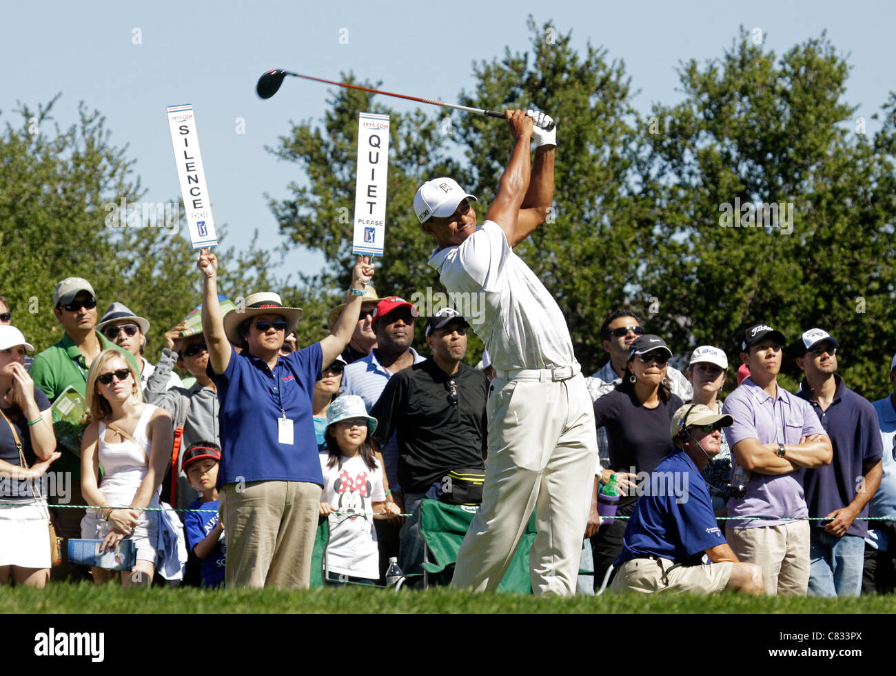 Tiger Woods in California PGA golf golfer - Stock Image