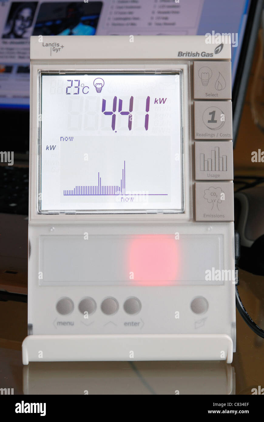 A domestic British Gas Smart Meter in 'electricity' mode, with red light indicating high energy consumption. - Stock Image